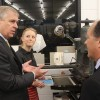 HRH The Duke of York with Charlotte Wainwright Apprentice bookbinder and Austen Kopley, MD Barnard & Westwood
