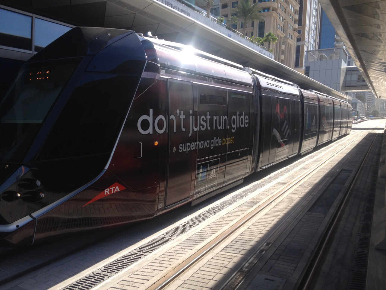 1st branded tram in Dubai (UAE). The branding was done by Print Works Dubai